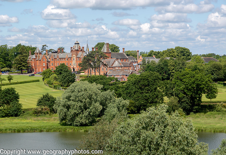 Framlingham College school and the mere lake, Framingham, Suffolk, England, UK