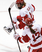 Maddie Elia (BU - 14), Victoria Bach (BU - 12) - The Boston College Eagles defeated the Boston University Terriers 3-2 in the first round of the Beanpot on Monday, January 31, 2017, at Matthews Arena in Boston, Massachusetts.