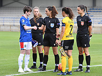 20190807 - DENDERLEEUW, BELGIUM : LSK's Ingrid Moe Wolde (r) pictured with Linfield's Kirsty McGuinness (left) and referees Shauni Depruyst , Jelena Cvetkovic and Ivana Jovanovic (r) during the female soccer game between the Norwegian LSK Kvinner Fotballklubb Ladies and the Northern Irish Linfield ladies FC , the first game for both teams in the Uefa Womens Champions League Qualifying round in group 8 , Wednesday 7 th August 2019 at the Van Roy Stadium in Denderleeuw  , Belgium  .  PHOTO SPORTPIX.BE for NTB  | DAVID CATRY