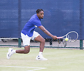 June 13th 2017, Nottingham, England; ATP Aegon Nottingham Open Tennis Tournament day 4;  Backhand from Darian King of Barbados who lost in three sets to Bjorn Fratangelo of USA