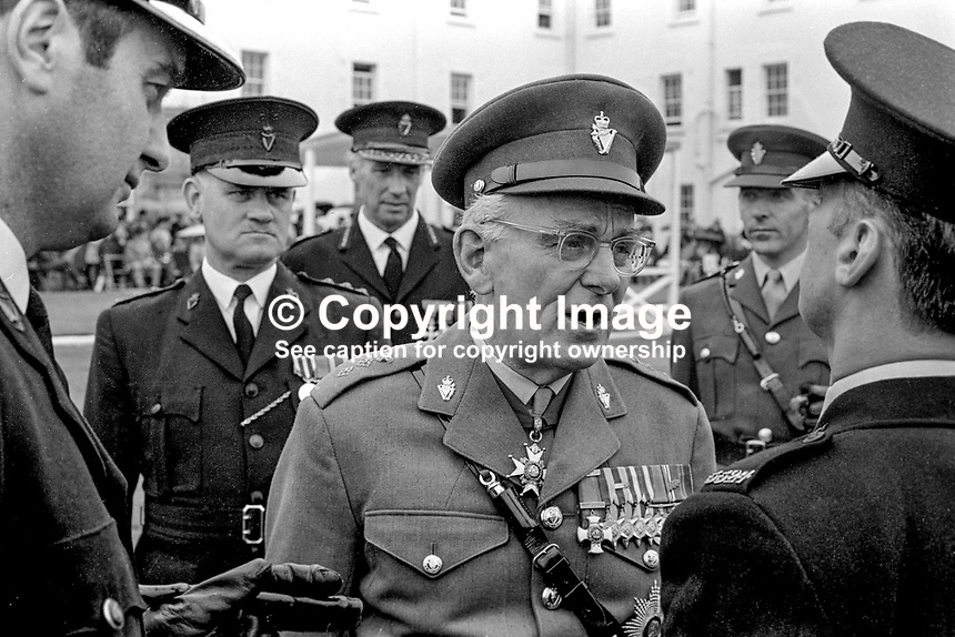 General Sir John Anderson, a native of N Ireland and the first colonel-commandant of the Ulster Defence Regiment, was the inspecting officer at this passing-out parade of RUC recruits. 197107000279JA1..Copyright Image from Victor Patterson, 54 Dorchester Park, Belfast, UK, BT9 6RJ..Tel: +44 28 9066 1296.Mob: +44 7802 353836.Voicemail +44 20 8816 7153.Skype: victorpattersonbelfast.Email: victorpatterson@mac.com.Email: victorpatterson@ireland.com (back-up)..IMPORTANT: If you wish to use this image or any other of my images please go to www.victorpatterson.com and click on the Terms & Conditions. Then contact me by email or phone with the reference number(s) of the image(s) concerned.