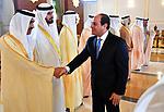 Egyptian President Abdel Fattah al-Sisi is welcomed by UAE officials in Abu Dhabi, United Arab Emirates on February 06, 2018. Photo by Egyptian President Office