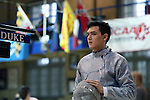 11 February 2017: Duke's Duncan De Caire prepares to compete in Saber. The Duke University Blue Devils hosted the Massachusetts Institute of Technology Engineers at Card Gym in Durham, North Carolina in a 2017 College Men's Fencing match. Duke won the dual match 19-8 overall, 7-2 Foil, 6-3 Epee, and 6-3 Saber.
