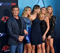 """LOS ANGELES, USA. August 14, 2019: Sylvester Stallone, Sistine Stallone, Jennifer Flavin, Sophia Stallone & Scarlet Stallone at the premiere of """"47 Meters Down: Uncaged"""" at the Regency Village Theatre.<br /> Picture: Paul Smith/Featureflash"""