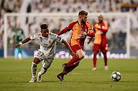 6th November 2019; Estadio Santiago Bernabeu, Madrid, Spain; UEFA Champions League Football, Real Madrid versus Galatasaray; Emre Akbaba (Gal) wins the ball from Luyindama (Gal) - Editorial Use
