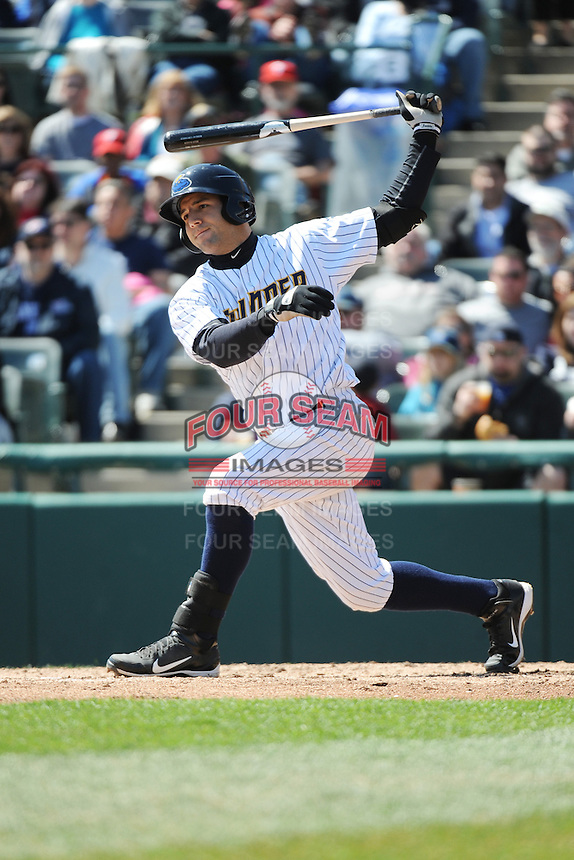 Trenton Thunder infielder Rob Segedin (26) during game against the Richmond Flying Squirrels at ARM & HAMMER Park on April 14 2013 in Trenton, NJ.  Trenton defeated Richmond 15-1.  (Tomasso DeRosa/Four Seam Images)