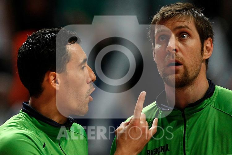 Caja Laboral´s Prigioni (l) and Andres Nocioni during La Liga ACB Playoffs semifinal last match, Madrid 2012/June/02..(ALTERPHOTOS/ARNEDO)