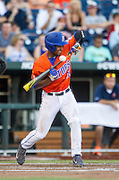 Florida Gators shortstop Richie Martin (12) attempts to bunt against the Virginia Cavaliers in Game 13 of the NCAA College World Series on June 20, 2015 at TD Ameritrade Park in Omaha, Nebraska. The Cavaliers beat the Gators 5-4. (Andrew Woolley/Four Seam Images)