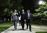 Nevada Assemblymen, from left, Stephen Silberkraus, Harvey Munford and PK O'Neill walk back from the Capitol after telling Gov. Brian Sandoval they concluded their business following the end of the session at the Legislative Building in Carson City, Nev., on Tuesday, June 2, 2015. <br /> Photo by Cathleen Allison