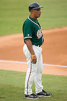 Greensboro Grasshoppers manager Edwin Rodriguez (8) in the third base coaches box at Fieldcrest Cannon Stadium in Kannapolis, NC, Saturday August 24, 2008. (Photo by Brian Westerholt / Four Seam Images)