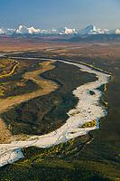 Aerial of Delta creek flowing out of the Alaska range mountains, interior, Alaska.
