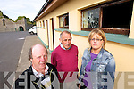 Members of the Lixnaw Hurling Club, pictured at the clubhouse which was vandalised last Friday night, from left: Sean Flaherty (chairman),  Thomas Fitzmaurice (PRO) and Sharon O'Keeffe (assistant treasurer)