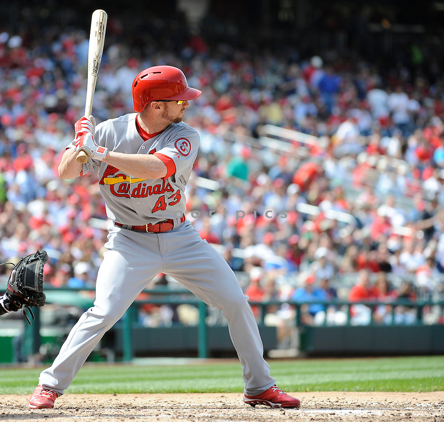 St. Louis Cardinals Shane Robinson (43) during a game against the Washington Nationals on April 24, 2013 at Nationals Park in Washington DC. The Cardinals beat the Nationals 4-2.