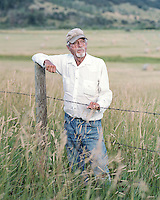 Rancher Bill Gay in front of his hay field along Highway 131 near Steamboat Springs, Colorado, Wednesday, August 12, 2015. As part of the 2015 Colorado Water Plan, the North Platte River Basin has called for the use of more irrigation and farming.<br /> <br /> <br /> Photo by Matt Nager