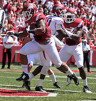 NWA Democrat-Gazette/Michael Woods --04/25/2015--w@NWAMICHAELW... University of Arkansas running back Kody Walker scores a touchdown during the 2015 Red-White game Saturday afternoon at Razorback Stadium in Fayetteville.