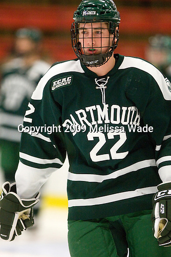 Dustin Walsh (Dartmouth - 22) - The Dartmouth College Big Green defeated the Harvard University Crimson 6-2 on Sunday, November 29, 2009, at Bright Hockey Center in Cambridge, Massachusetts.