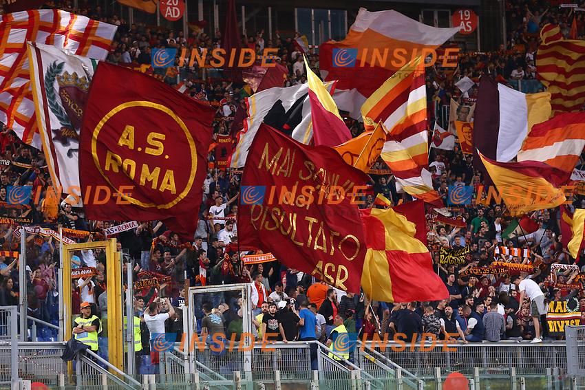 Tifosi della Roma e Striscione, fans, supporters banner<br /> Roma 14-05-2017  Stadio Olimpico <br /> Campionato Serie A AS Roma - Juventus<br /> Foto Cesare Purini / Insidefoto
