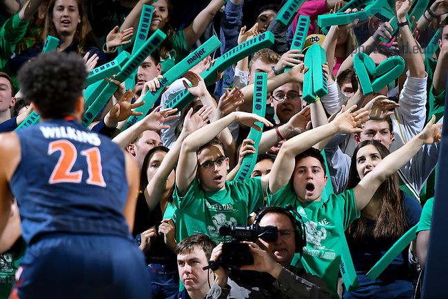 January 24, 2017; Students in the Leprechaun Legion attempt to distract the opponent during a free throw at a Men's Basketball game. (Photo by Matt Cashore/University of Notre Dame)