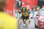 "Steven Kruijswijk (NED) LottoNL-Jumbo crosses the finish line 1'15"" down and drops out of podium position at the end of Stage 20 of the La Vuelta 2018, running 97.3km from Andorra Escaldes-Engordany to Coll de la Gallina, Spain. 15th September 2018.                   <br /> Picture: Colin Flockton 