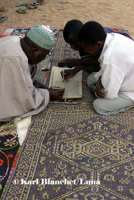 Talibes learning with marabout coranic versets outside the house of the marabout in Maradi, Niger. In Niger, coranic schools still exist and are very traditional. Talibe, pupils, even go and beg for money and food in the afternoon in order to pay the marabout.