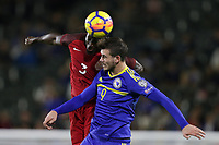 Carson, CA - Sunday January 28, 2018: Ike Opara, Elvir Koljic during an international friendly between the men's national teams of the United States (USA) and Bosnia and Herzegovina (BIH) at the StubHub Center.