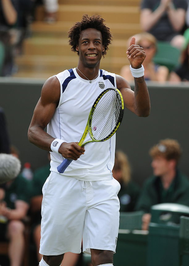 Gael Monfils(FRA) celebrates his victory over Matthias Bachinger(GER) in todays first round match - Gael Monfils(FRA)[9] def Matthias Bachinger(GER) 6-4 7-6(3) 6-3...