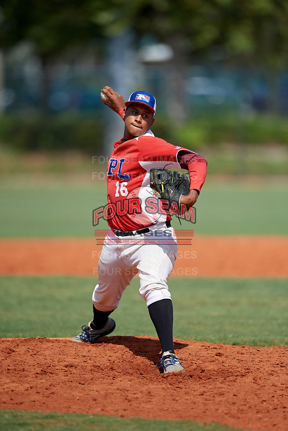 Hansel Santana (16) during the Dominican Prospect League Elite Florida Event at Pompano Beach Baseball Park on October 15, 2019 in Pompano beach, Florida.  (Mike Janes/Four Seam Images)