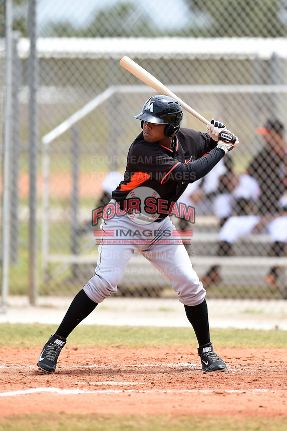 Miami Marlins first baseman Felix Munoz (46) during a minor league spring training game against the New York Mets on March 28, 2014 at the Roger Dean Stadium Complex in Jupiter, Florida.  (Mike Janes/Four Seam Images)