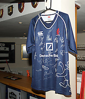 A signed Match shirt for the raffle in the Pre-match hospitality ahead of  the Greene King IPA Championship match between London Scottish Football Club and Ealing Trailfinders at Richmond Athletic Ground, Richmond, United Kingdom on 26 December 2015. Photo by Alan  Stanford / PRiME Media Images