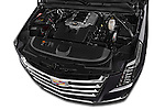 Car Stock 2017 Cadillac Escalade Luxury 5 Door SUV Engine  high angle detail view