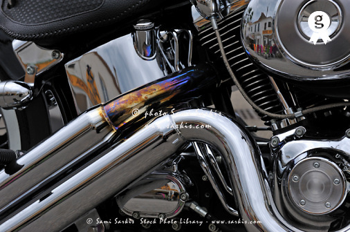 Chromed motorbike engine, close-up (Licence this image exclusively with Getty: http://www.gettyimages.com/detail/104143538 )