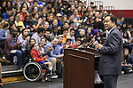 A. Gabriel Esteban, Ph.D., president of DePaul University, greets the students gathered in McGrath-Phillips Arena Tuesday, Sept. 5, 2017, during a rally before they head out to their volunteer sites as part of New Student Service Day. Students fanned out across the city to volunteer at dozens of community organizations following the early morning rally on the Lincoln Park Campus. (DePaul University/Jamie Moncrief)
