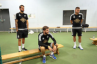 Pictured L-R: Kristoffer Nordfeldt, Josh Vickers and Franck Tabanou Tuesday 30 June 2015<br /> Re: Pre-season assessment of Swansea City FC players on the grounds of Swansea University, south Wales, UK