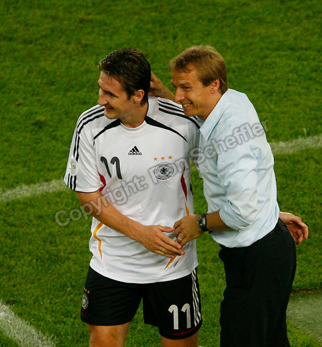 Jul 8, 2006; Stuttgart, GERMANY; Germany coach Juergen Klinsmann and forward (11) Miroslav Klose smile during second half play against Portugal in the runner-up match to decide third place in the 2006 FIFA World Cup at Gottlieb-Daimler-Stadion, Stuttgart. Germany defeated Portugal 3-1. Mandatory Credit: Ron Scheffler-US PRESSWIRE Copyright © Ron Scheffler