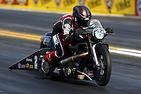 Nov 7, 2013; Pomona, CA, USA; NHRA pro stock motorcycle rider Andrew Hines during qualifying for the Auto Club Finals at Auto Club Raceway at Pomona. Mandatory Credit: Mark J. Rebilas-