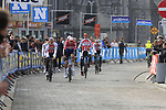Corendon-Circus team arrive at sign on before the 2019 Gent-Wevelgem in Flanders Fields running 252km from Deinze to Wevelgem, Belgium. 31st March 2019.<br /> Picture: Eoin Clarke | Cyclefile<br /> <br /> All photos usage must carry mandatory copyright credit (© Cyclefile | Eoin Clarke)