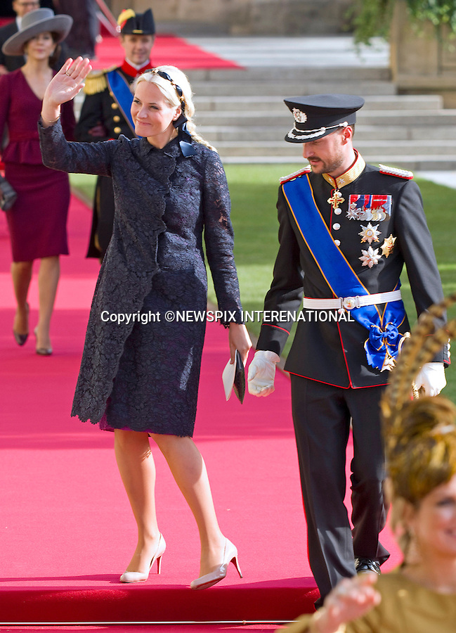 """PRINCE HAAKON AND PRINCESS METTE-MARIT OF NORWAY.Religious Wedding Ceremony of HRH the Hereditary Grand Duke and Countess Stéphanie de Lannoy at Cathedral of Our lady of Luxembourg, Luxembourg_20-10-2012.Mandatory credit photo: ©Dias/NEWSPIX INTERNATIONAL..(Failure to credit will incur a surcharge of 100% of reproduction fees)..                **ALL FEES PAYABLE TO: """"NEWSPIX INTERNATIONAL""""**..IMMEDIATE CONFIRMATION OF USAGE REQUIRED:.Newspix International, 31 Chinnery Hill, Bishop's Stortford, ENGLAND CM23 3PS.Tel:+441279 324672  ; Fax: +441279656877.Mobile:  07775681153.e-mail: info@newspixinternational.co.uk"""