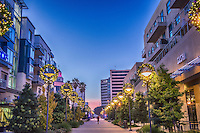 Long Beach, CA, City, Cityscape, Skyline, Architectural, Building, Southern California, USA, The Promenade is a six block long thoroughfare in the heart of Downtown Long Beach that is anchored on the North by City Place,