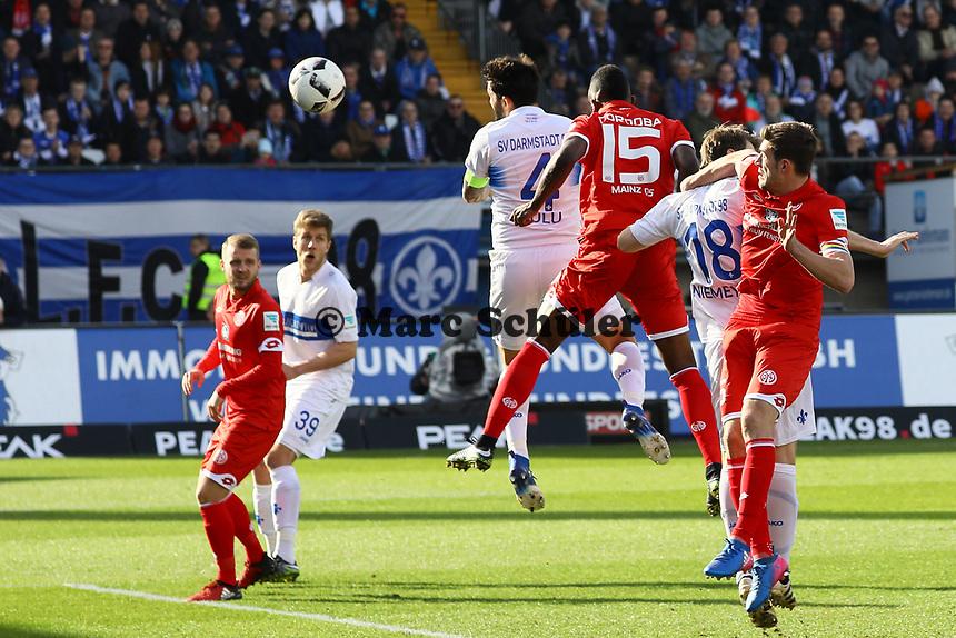 goal, Tor zum 1:0 für Aytac Sulu (SV Darmstadt 98)- 11.03.2017: SV Darmstadt 98 vs. 1. FSV Mainz 05, Johnny Heimes Stadion am Boellenfalltor