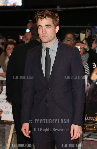 "Robert Pattinson arriving for the ""The Twilight Saga: Breaking Dawn Part 2"" premiere at the Odeon Leicester Square, London. 14/11/2012 Picture by: Henry Harris / Featureflash"