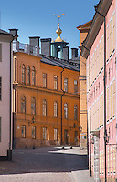 Cobble stone street with old houses on Riddarholmen. Stockholm. Sweden, Europe.