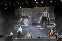 The Future Islands perform during British Summertime Music Festival at Hyde Park, London, England on 18 June 2015. Photo by Andy Rowland.