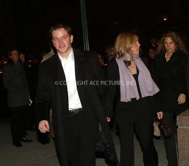 "Matt Damon and girlfriend Odessa Whitmire arriving at the charity screening of ""Confessions of a Dangerous Mind."" New York, December 18, 2002. Please byline: Alecsey Boldeskul/NY Photo Press.   ..*PAY-PER-USE*      ....NY Photo Press:  ..phone (646) 267-6913;   ..e-mail: info@nyphotopress.com"