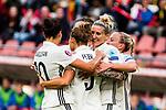 25.07.2017, Stadion Galgenwaard, Utrecht, NLD, Tilburg, UEFA Women's Euro 2017, Russland (RUS) vs Deutschland (GER), <br /> <br /> im Bild | picture shows<br /> Anja Mittag (Deutschland #11) | (Germany #11) jubelt mit Mandy Islacker (Deutschland #9) | (Germany #9) und Dzsenifer Marozsan (Deutschland #10) | (Germany #10) über das Tor von Babett Peter (Deutschland #5) | (Germany #5), <br /> <br /> Foto © nordphoto / Rauch