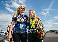 Mar 20, 2016; Gainesville, FL, USA; NHRA top fuel driver Brittany Force (right) celebrates with sister Courtney Force after winning the Gatornationals at Auto Plus Raceway at Gainesville. Mandatory Credit: Mark J. Rebilas-USA TODAY Sports