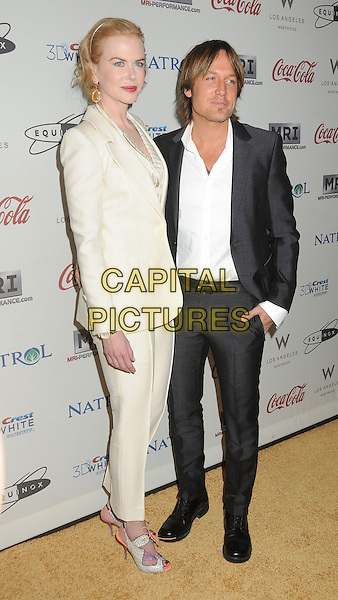 "Nicole Kidman, Keith Urban.""Gold Meets Golden"" Pre Golden Globes Event held at Equinox West LA, Los Angeles, California, USA, .12th January 2013..full length white cream suit jacket shirt grey gray jacket husband wife couple purple cut out shoes peach orange open toe  peep .CAP/ADM/BP.©Byron Purvis/AdMedia/Capital Pictures."
