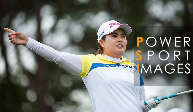 TAOYUAN, TAIWAN - OCTOBER 28:  Inbee Park of South Korea tees off on the 3rd hole during the day four of the Sunrise LPGA Taiwan Championship at the Sunrise Golf Course on October 28, 2012 in Taoyuan, Taiwan.  Photo by Victor Fraile / The Power of Sport Images