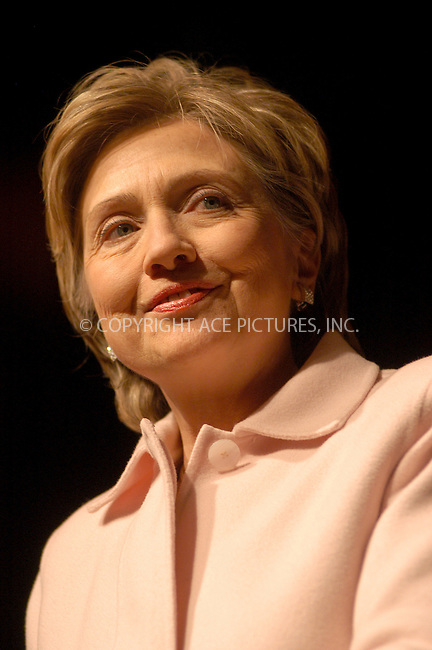 WWW.ACEPIXS.COM . . . . . ....NEW YORK, DECEMBER 13, 2005....Hillary Clinton at a fundraiser for Senator Hillary Clinton hosted by' The Friends of Hillary' and Bill Clinton held at the Hilton Grand Ballroom. ....Please byline: KRISTIN CALLAHAN - ACEPIXS.COM.. . . . . . ..Ace Pictures, Inc:  ..Philip Vaughan (212) 243-8787 or (646) 679 0430..e-mail: info@acepixs.com..web: http://www.acepixs.com