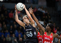 27.08.2016 Silver Ferns Bailey Mes and England's Ama Agbeze in action during the Netball Quad Series match between teh Silver Ferns and England at Vector Arena in Auckland. Mandatory Photo Credit ©Michael Bradley.