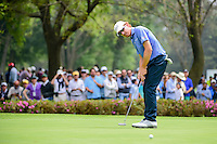 Roberto Castro (USA) watches his putt on 7 during round 3 of the World Golf Championships, Mexico, Club De Golf Chapultepec, Mexico City, Mexico. 3/4/2017.<br /> Picture: Golffile | Ken Murray<br /> <br /> <br /> All photo usage must carry mandatory copyright credit (&copy; Golffile | Ken Murray)